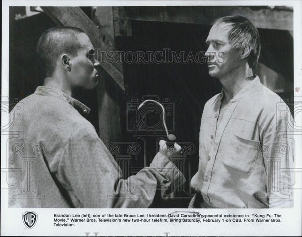 "1986 Press Photo Brandon Lee and David Carradine in ""Kung Fu: The Movie"" - Historic Images"