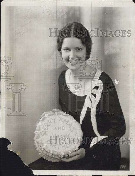 1930 Press Photo Marguerite Churchill Actress Movie Star Holding Cake - Historic Images