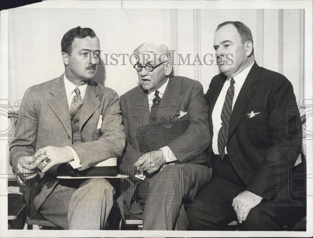 1934 Press Photo Governor Douglas Buck, George Getz & E.F. Colladay Businessmen - Historic Images
