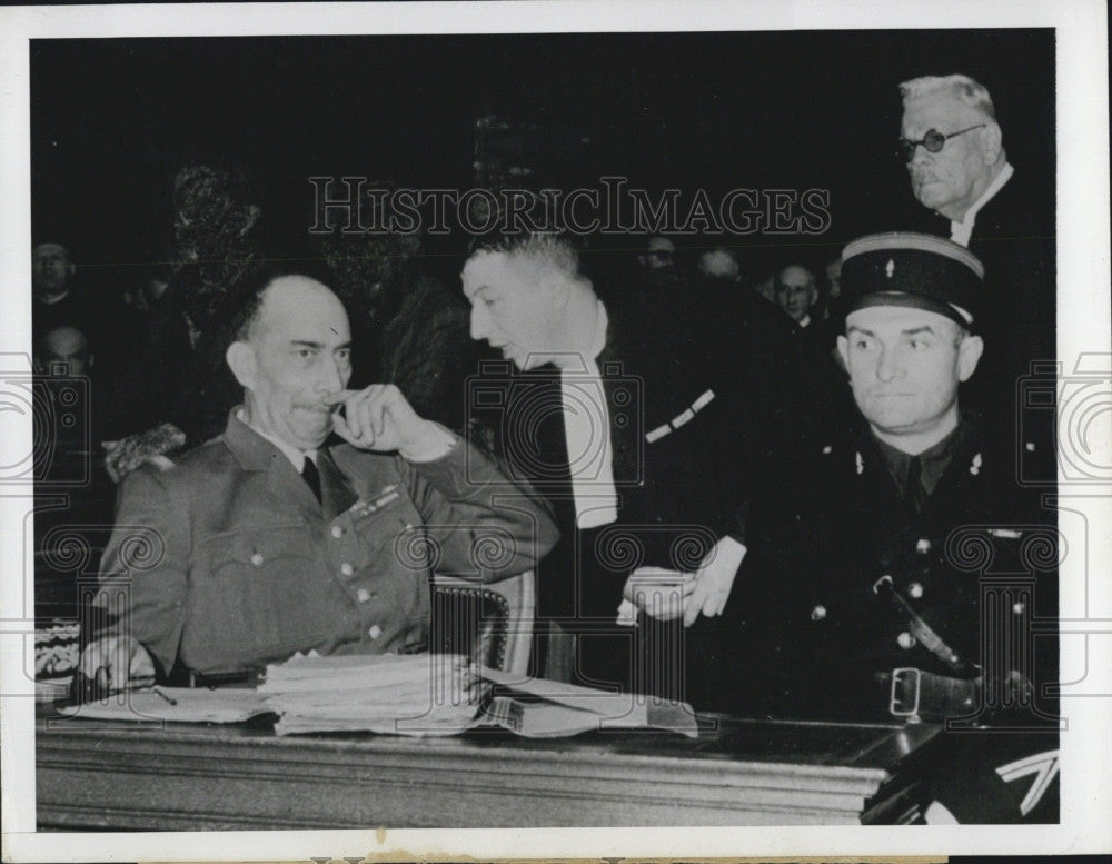 1944 Press Photo French Gen Henri Dentz On trial for Treason In Paris Court - Historic Images
