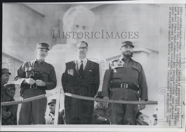 1966 Press Photo Cuban Government Leaders at Anniversary Parade. - Historic Images