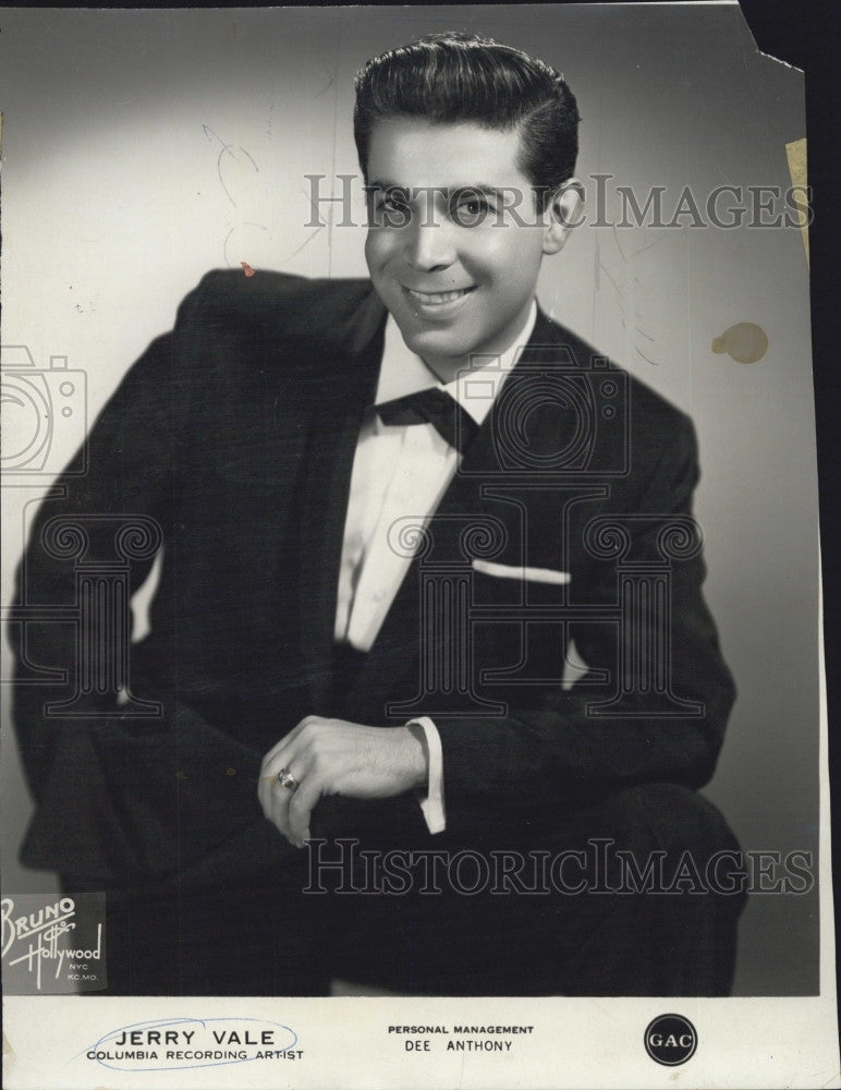 1965 Press Photo Recording artist, Jerry Vale - Historic Images
