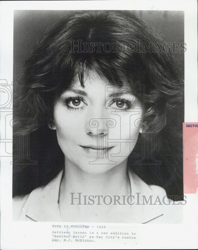 "Press Photo Kathleen Layman Joins ""Another World"" As Cop, M. J.  McKinnon - Historic Images"