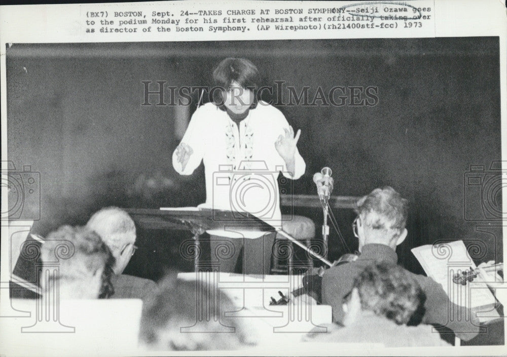 1973 Press Photo Seiji Ozawa officially takes over conducting at Boston Symphony - Historic Images