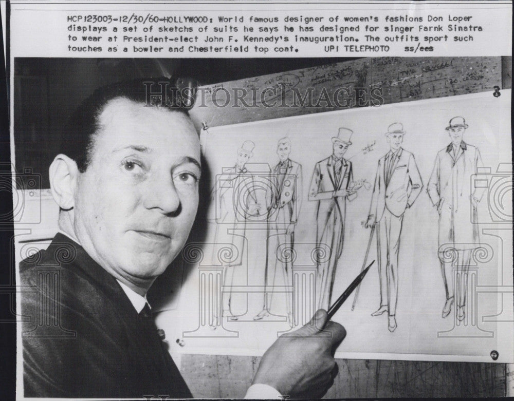 1960 Press Photo World famous designer of women's fashions Don Loper shows - Historic Images