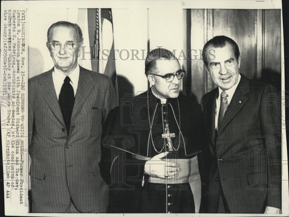 1971 Press Photo LBJ With Pres Nixon And Rev Humberto Medeiros In DC - Historic Images