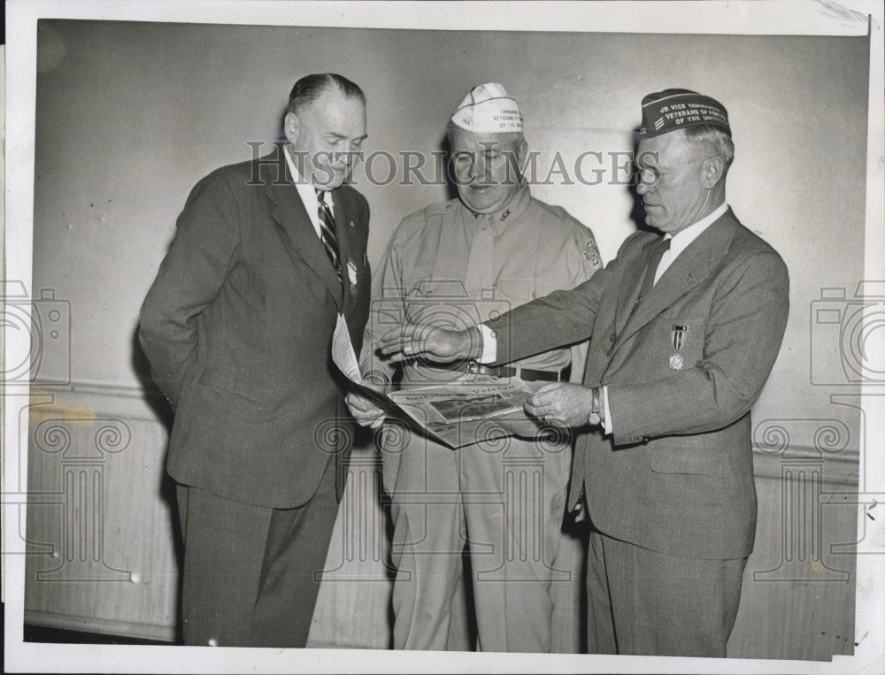 1946 Press Photo VFW Officers Meet in Boston Jean Brunner, Joseph Stack - Historic Images