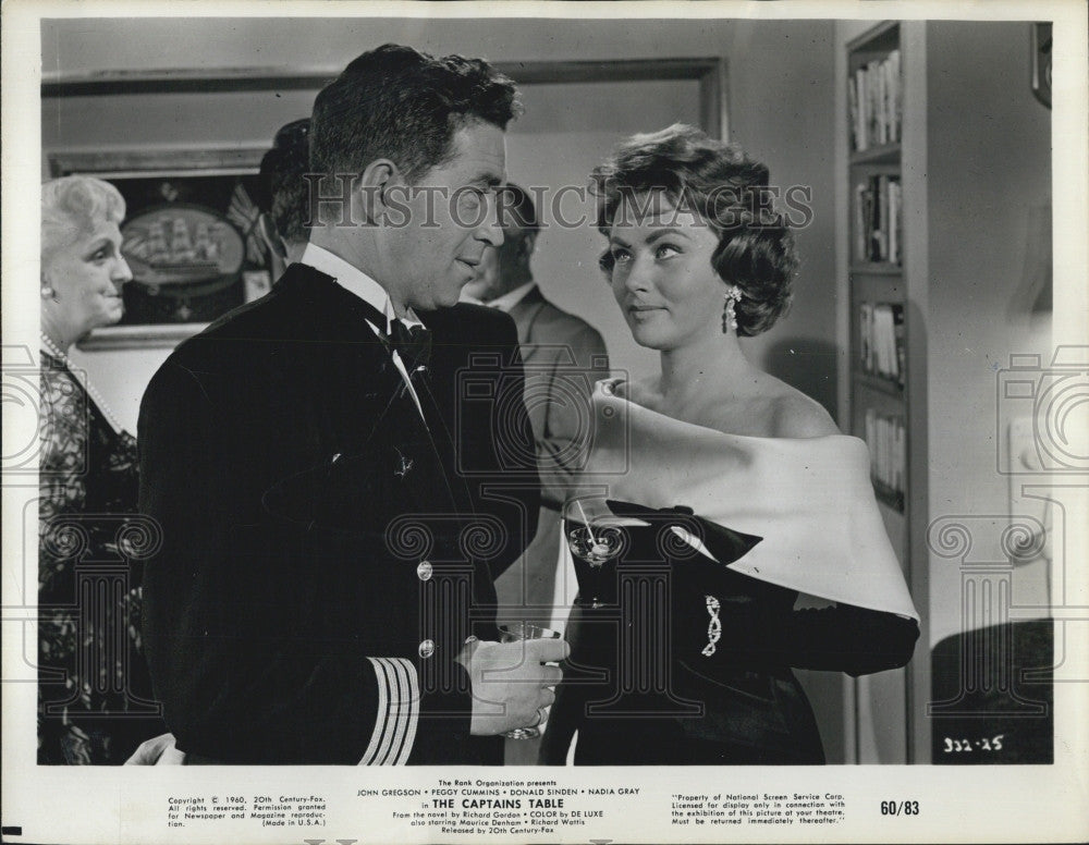 1960 Press Photo The Captains Table Cast John Gregson And Nadia Gray COPY - Historic Images