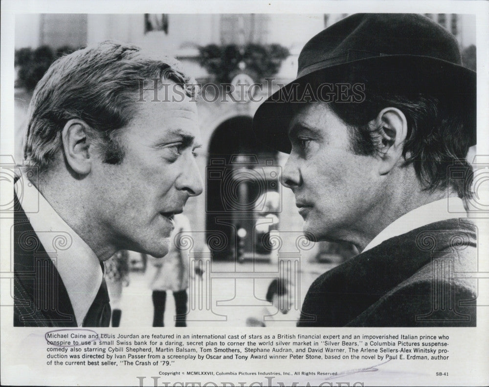 "1978 Press Photo Michael Caine And Louis Jourdan In ""Silver Bears"" Columbia Pics - Historic Images"