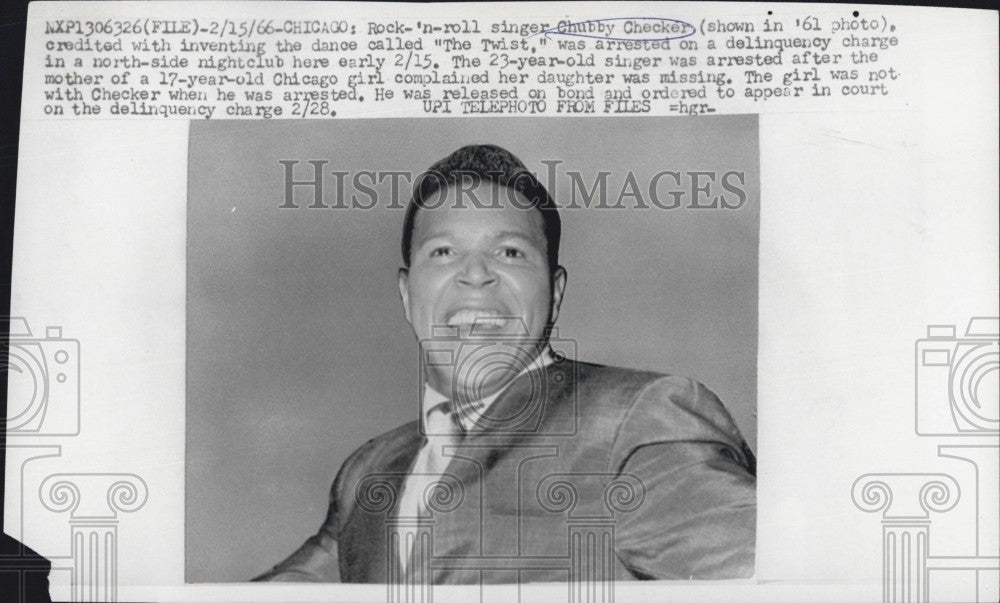 "1966 Press Photo Rock 'n Roll singer Chubby Checkers invented dance ""The Twist"" - Historic Images"