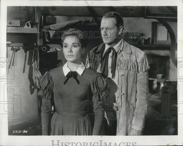1956 Press Photo Joel McCrea And Felicia Farr Co-Star In The First Texan - Historic Images