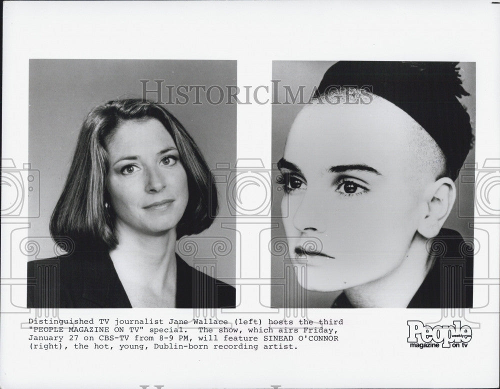 "Press Photo TV Journalist Jane Wallace ""People Magazine on TV"" feature Sinead - Historic Images"