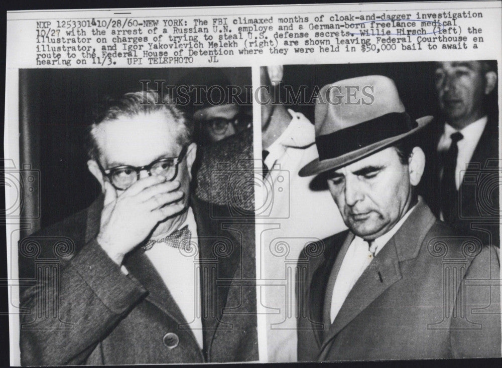 1960 Press Photo Willie Hiersch & Igor Y Melekh arrested - Historic Images