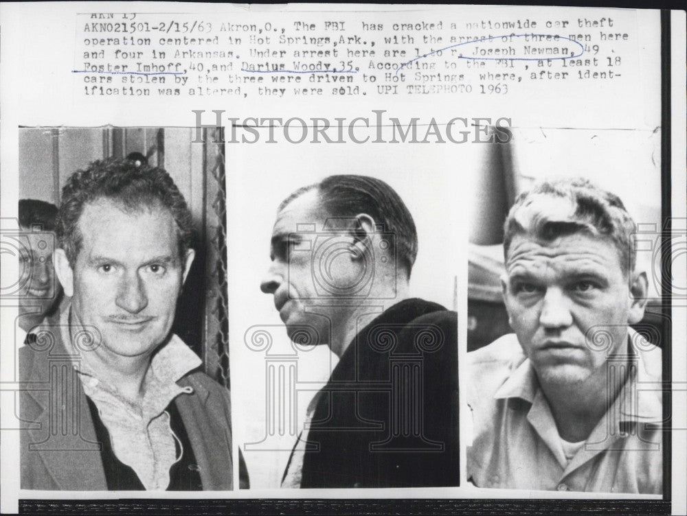 1963 Press Photo Three men arrested in AR with car theft operation, Joseph - Historic Images