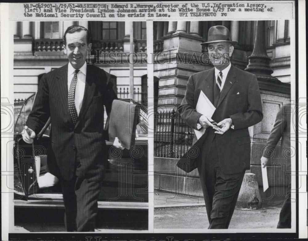 1961 Press Photo Vice Pres Johnson (R) & Edward Murrow (L) Dir of US Info Agency - Historic Images