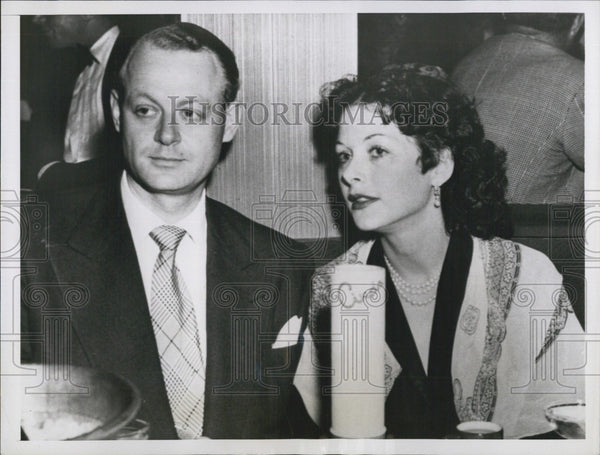 1950 Press Photo Actress Hedy Lamarr And Herbert Klotz, Investment Banker - Historic Images