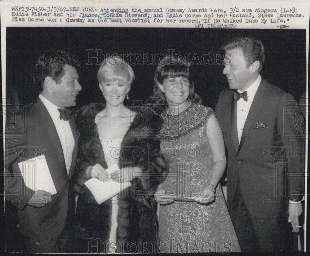 1967 Press Photo Singers Eddie Fisher, Connie Stevens Attend Grammy Awards - Historic Images