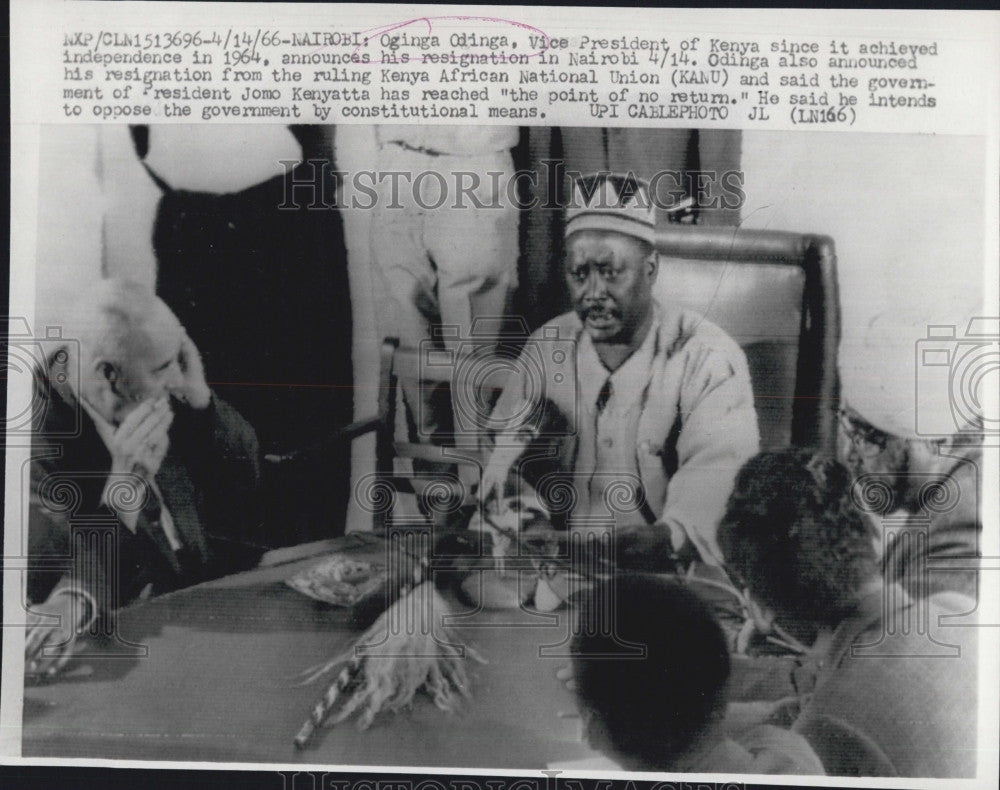 1966 Press Photo Oginga Odinga President Of Kenya Africa - Historic Images