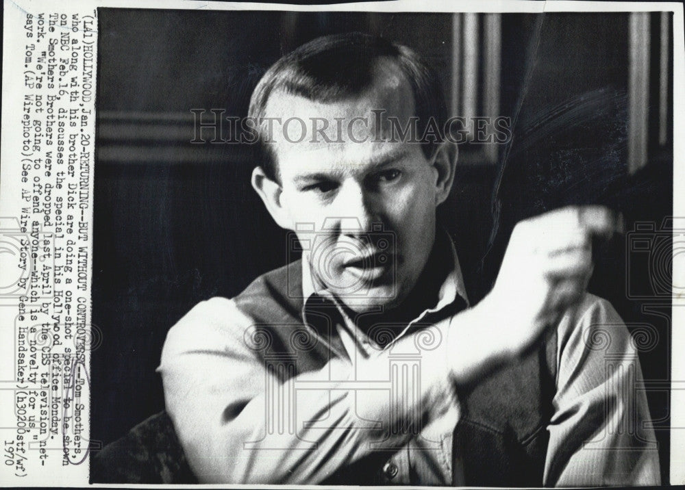 1970 Press Photo Comedian Tommy Smothers on NBC - Historic Images