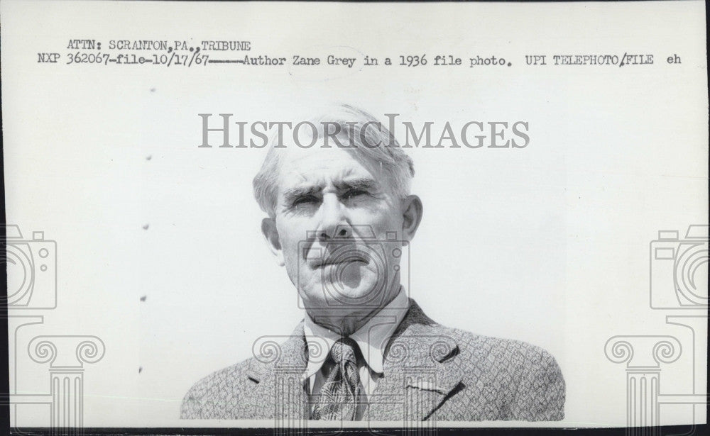 1967 Press Photo Author Zane Grey in 1936 Photo - Historic Images
