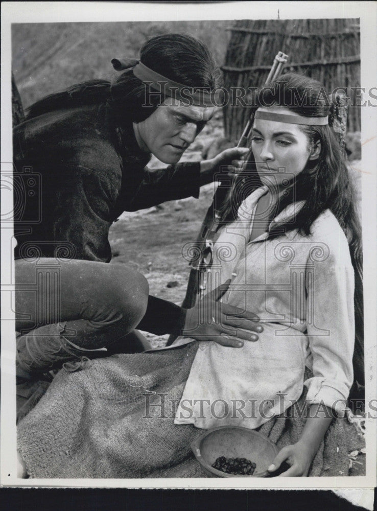 1964 Press Photo Actor Chuck Conners Actress Kamala Devi in Geronimo NBC - Historic Images