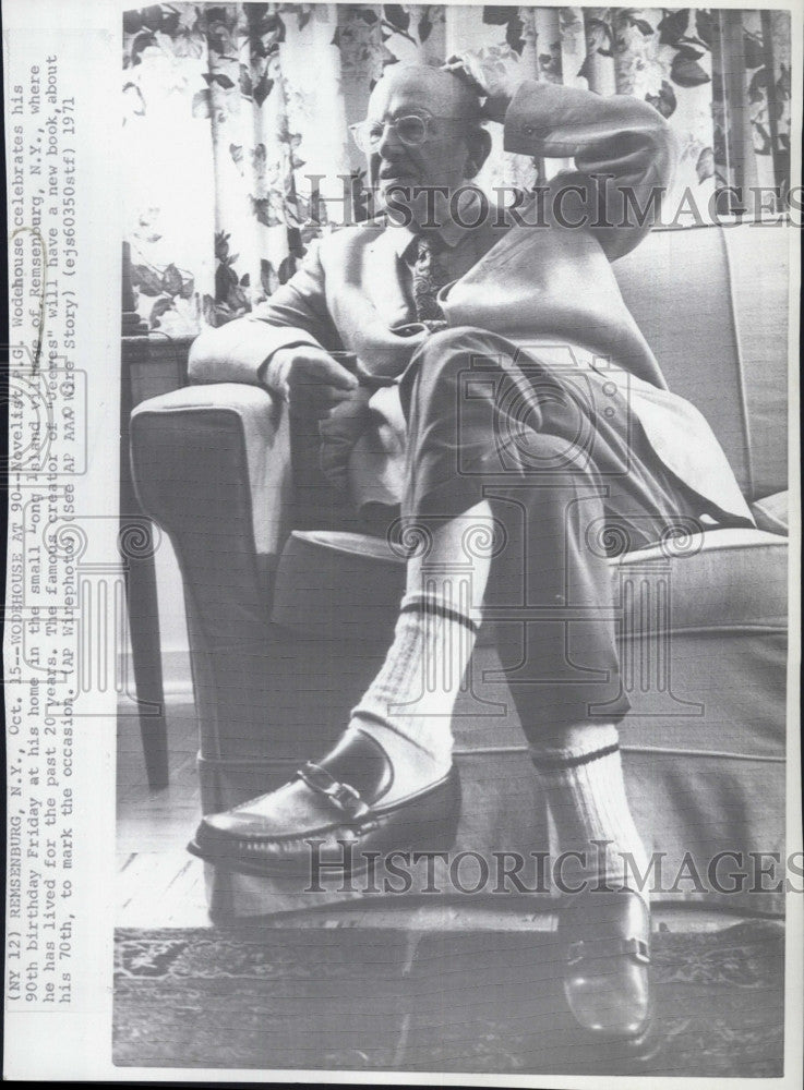 1971 Press Photo Novelist, PG Wodehouse at home - Historic Images
