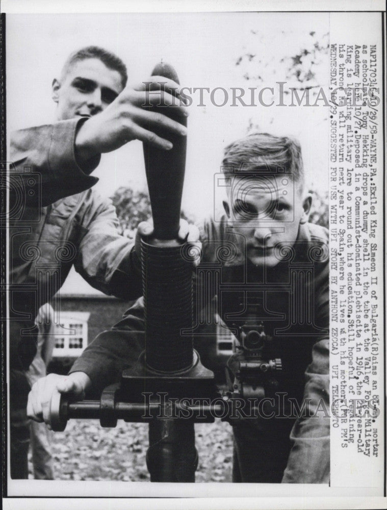 1958 Press Photo Ex King Simeon II of Bulgaria &schoolmate Tony Hekking - Historic Images