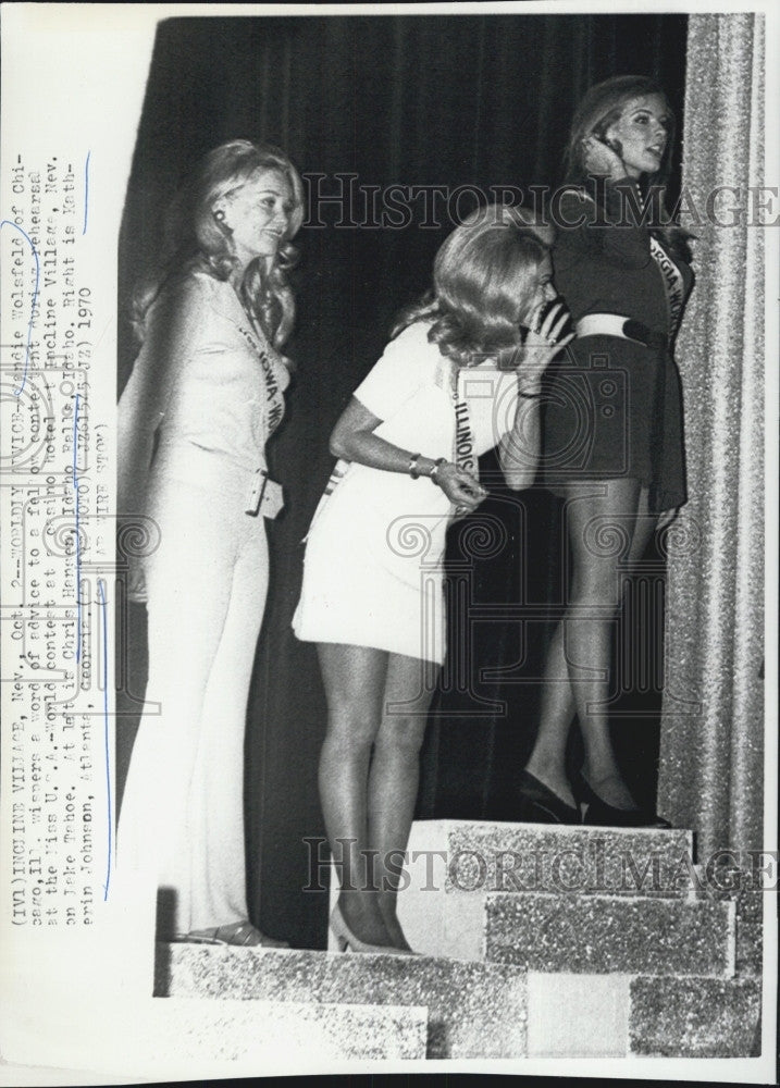 1970 Press Photo Sandie Wolsfeld Chris Hansen Katherin Johnson Miss USA World - Historic Images