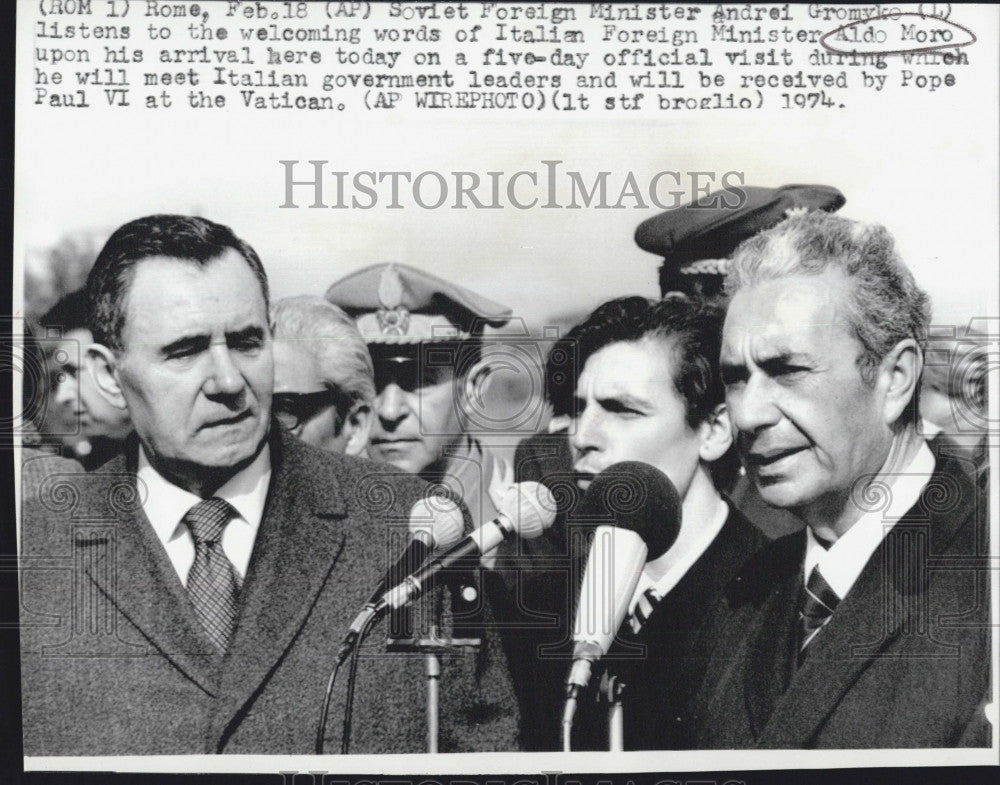 1974 Press Photo Also Moro and Andrei Gromyko, Soviet Foreign Minister - Historic Images