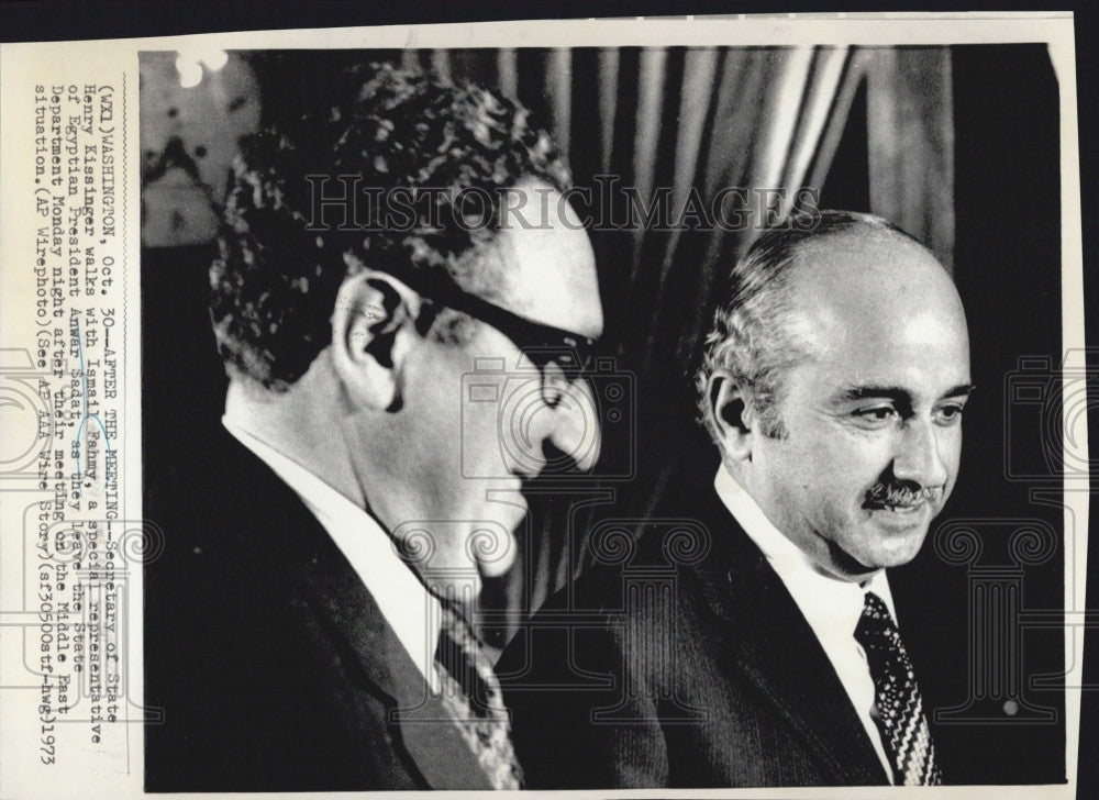 1973 Press Photo Ismail Fahmy Egyptian Foreign Minister Henry Kissininger - Historic Images