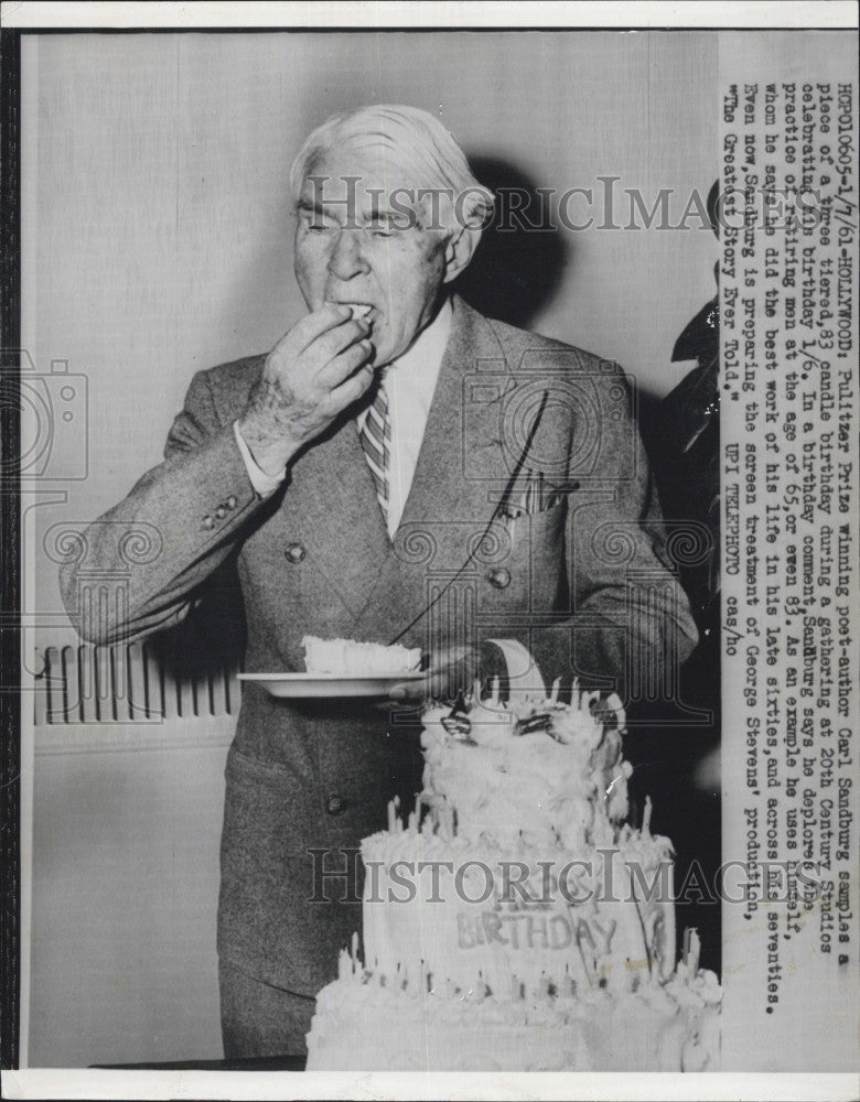 1961 Press Photo Pulitzer Prize Winning Poet-Author Carl Sandburg 83rd Birthday - Historic Images
