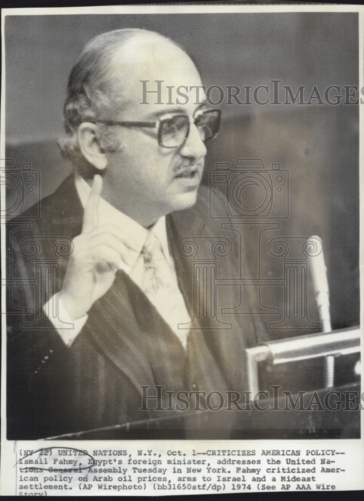 1974 Press Photo Egypt Foreign Min Iasmail Fahmy - Historic Images