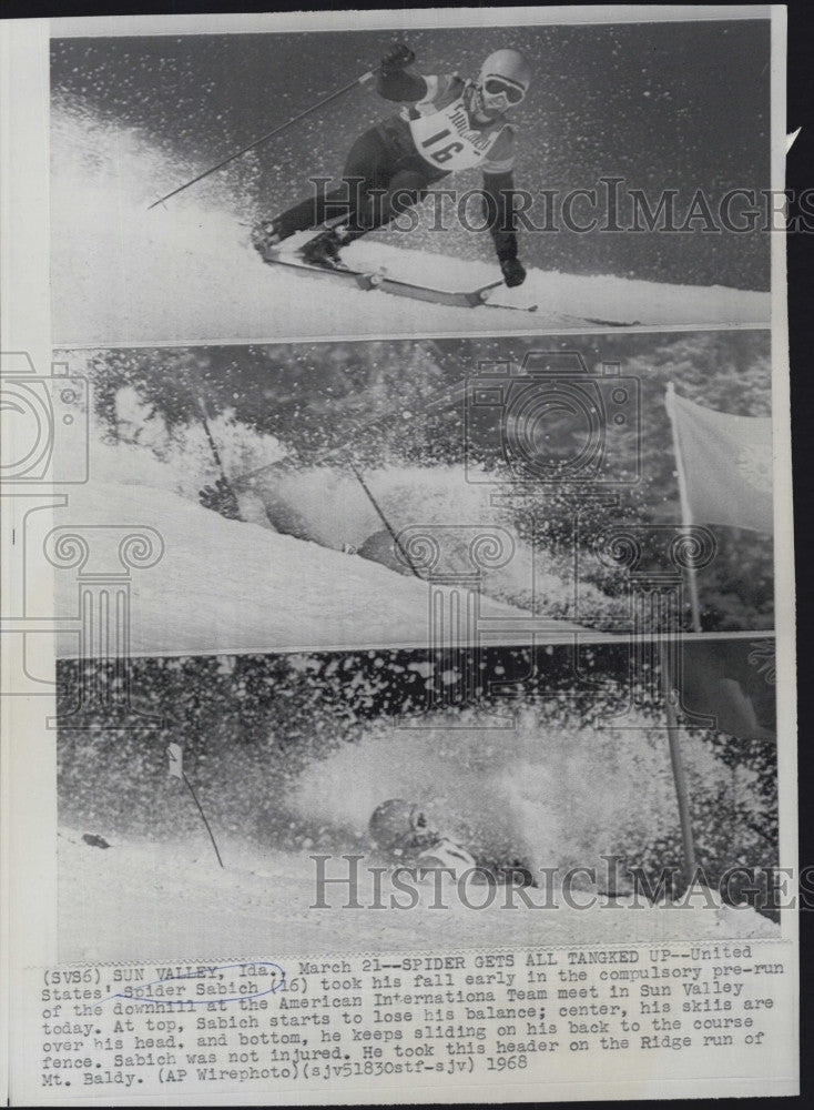 1968 Press Photo Skier , Spider Sabich in action - Historic Images