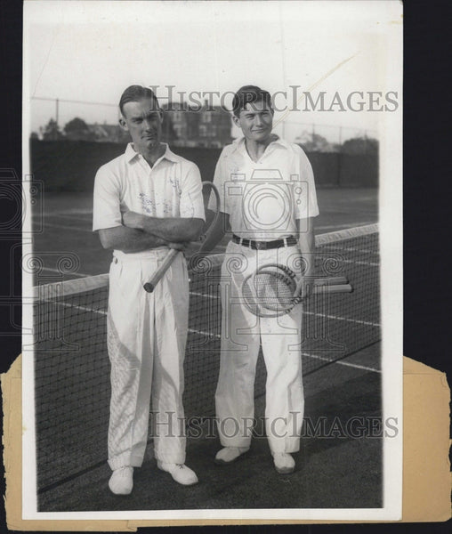 1930 Press Photo George Lott & Jack De Lara Before Tennis Match - Historic Images