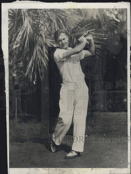 1932 Press Photo Golfer George Lott In Action - Historic Images