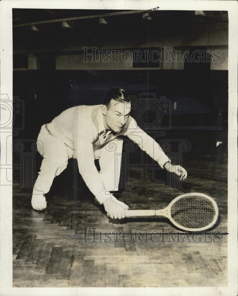 1935 Press Photo George M Lott at tennis in Boston - Historic Images