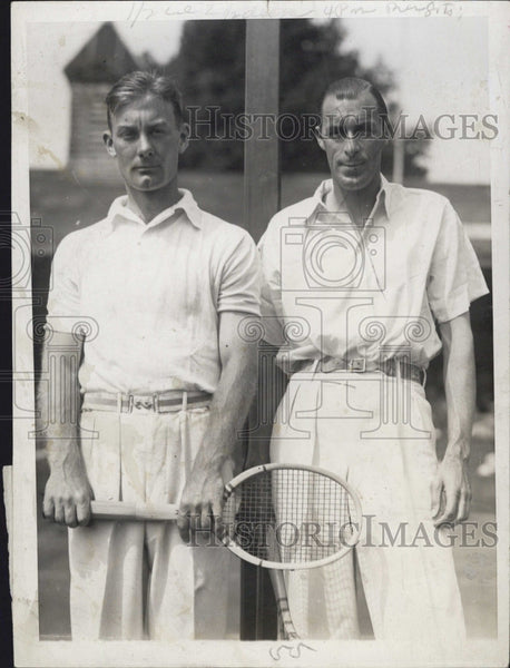 1929 Press Photo George M Lott & Bill Tilden at Cushman Cup tennis - Historic Images