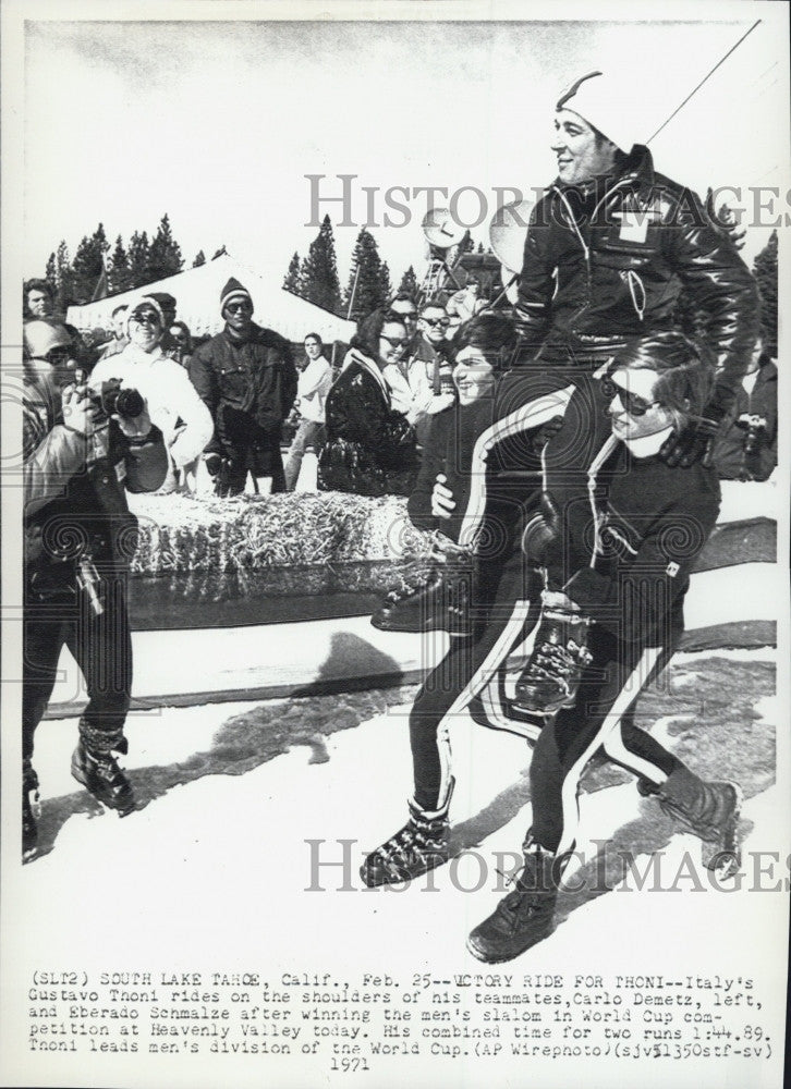 1971 Press Photo Italian skier Gustavo Thoeni & Carlo Demetz at World Cup - Historic Images