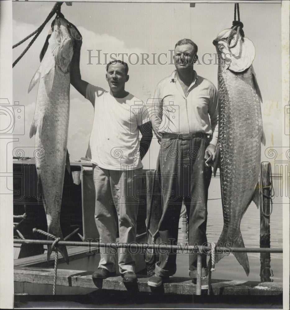 1948 Press Photo Dr. Austin Hutchinson, 139-pound tarpon, Harlan Gregory - Historic Images