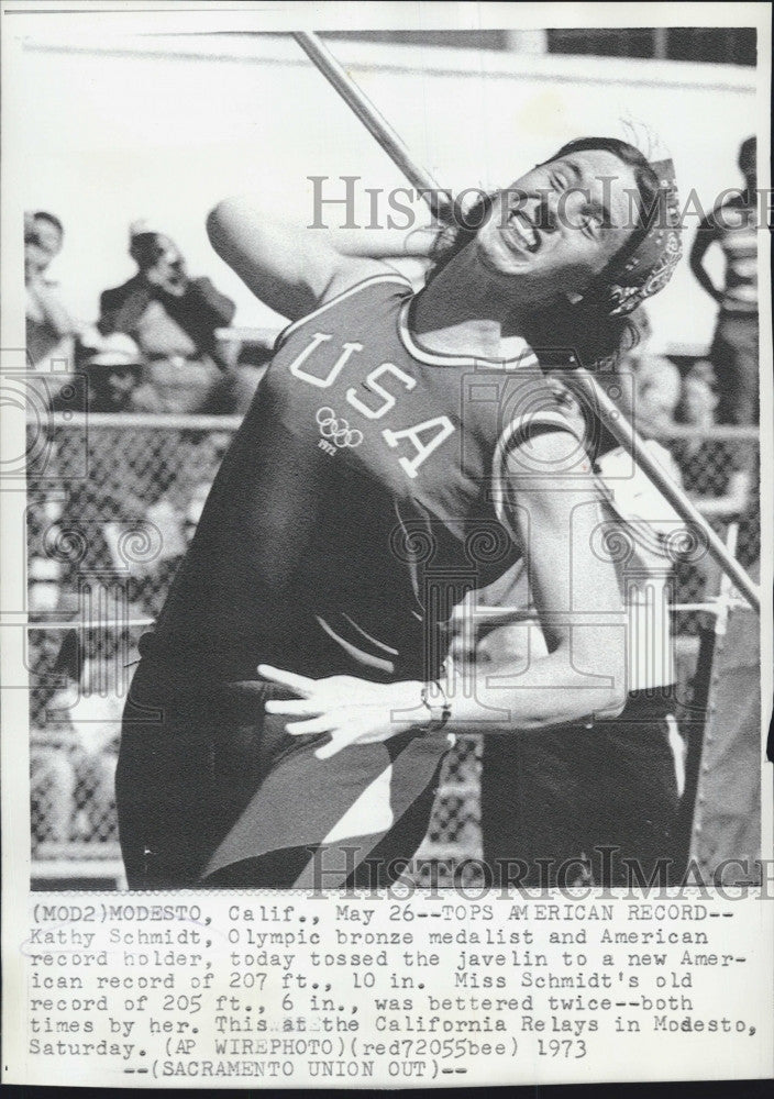 1973 Press Photo Olympic Medalist and American Record Holder Kathy Schmidt broke - Historic Images