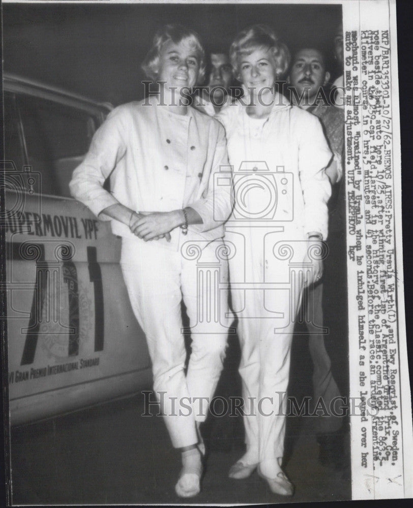 1962 Press Photo Race Car Drivers Ursula Wirth and Ewy Rosqvist at Argentine - Historic Images