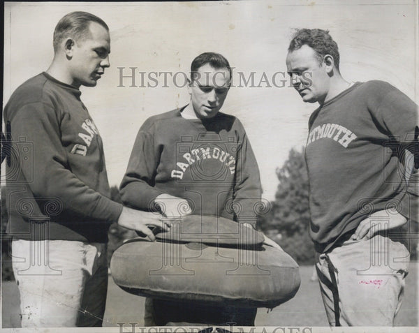 1944 Press Photo Dartmouth coach Earl Brown & Milt Piepul & Johnny Del Isola - Historic Images