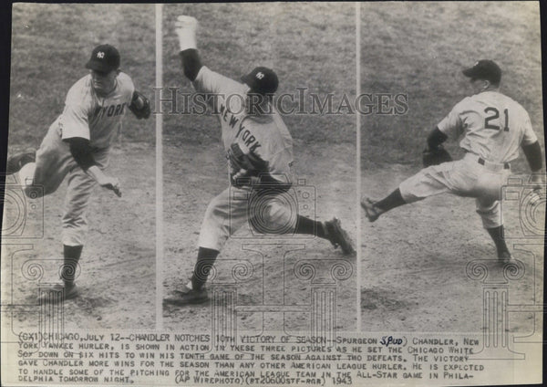 1943 Press Photo Spurgeon Chandler New York Yankee Baseball Player - Historic Images