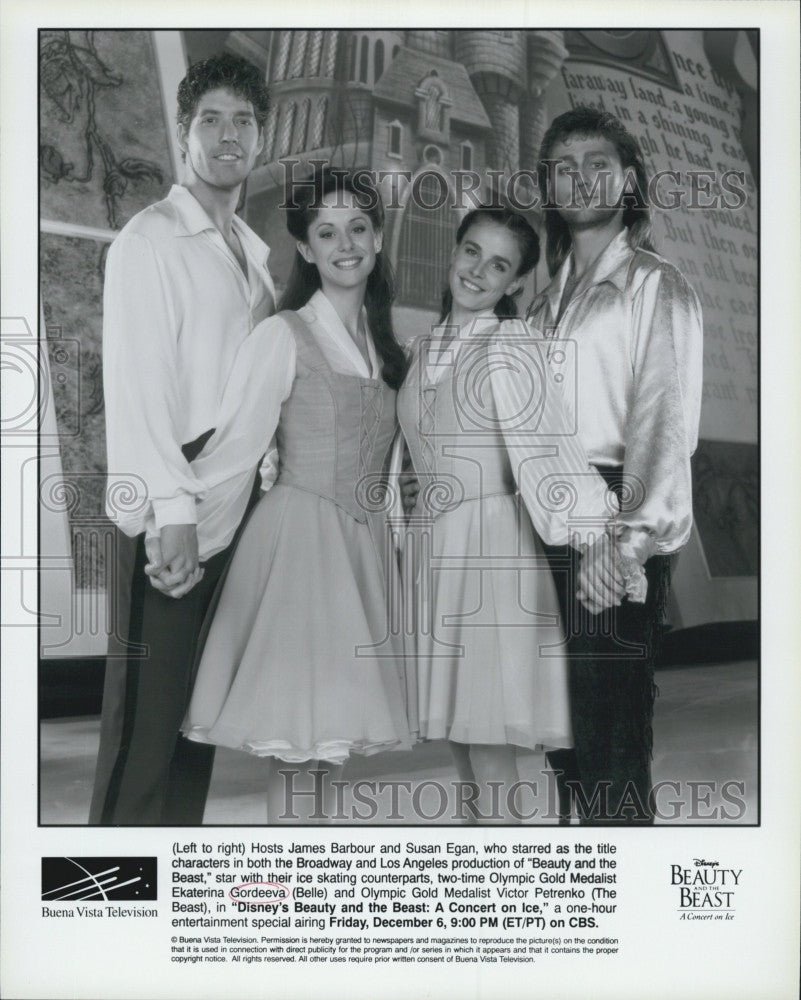"1996 Press Photo James Barbour Susan Egan ""Beauty And The Beast"" On Ice Skate - Historic Images"