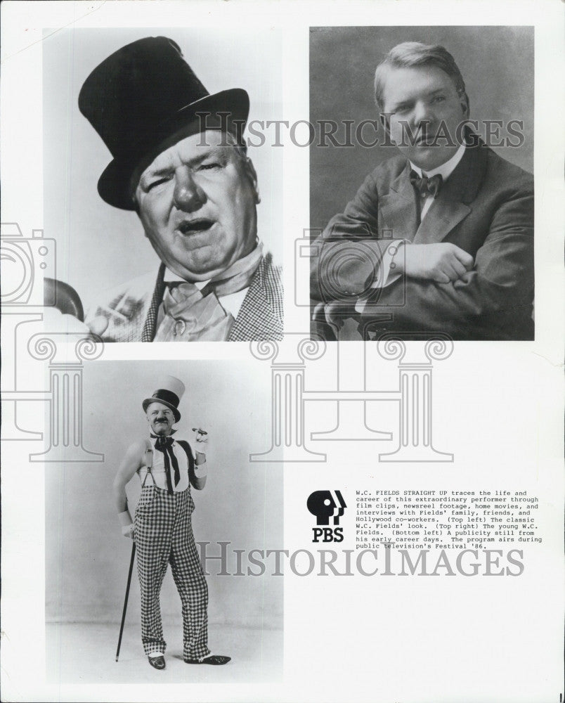 1986 Press Photo W.C. Fields in a PBS special look at his career - Historic Images