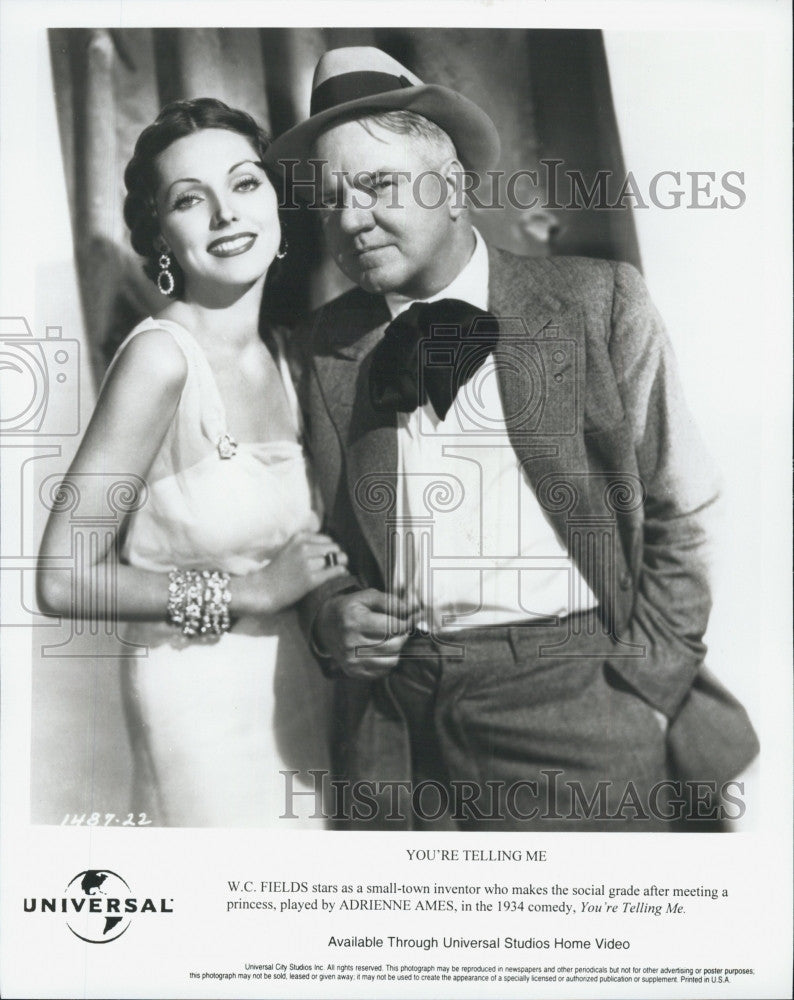 "1934 Press Photo W.c> Fields & Adrienne Ames ""You're Telling Me"" - Historic Images"