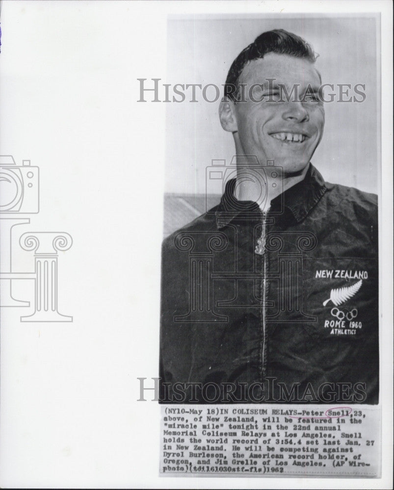 1962 Press Photo Peter Snell, world record  of 3:54.4 - Historic Images