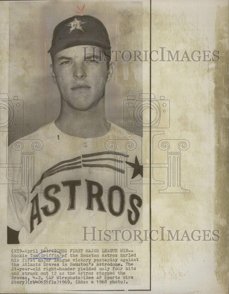 1969 Press Photo Houston Astros Rookie Pitcher Tom Griffin - Historic Images