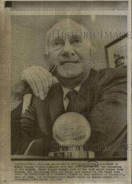 1970 Press Photo Phil Piton President Of Minor League Baseball - Historic Images