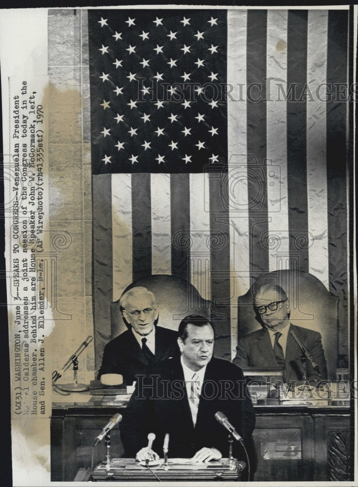 1970 Press Photo Venezuelan President Rafael Calderas Addresses U.S. Congress - Historic Images
